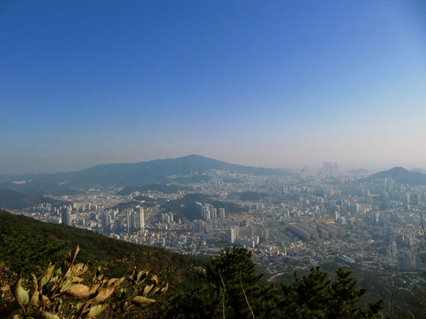 View from the cable car up heading up Geumjeong Mountain with Dad and Joe